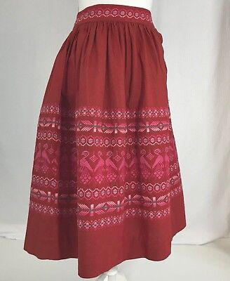 Vintage GUATEMALAN Sombol Handwoven Embroidered Red Skirt Size XS