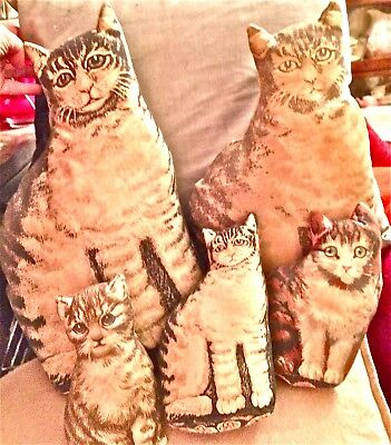 5 Vintage Cat Shaped Pillows Tabby Family Kitten Doorstop Fabric Toy Works Kitty