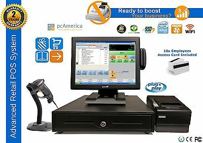 pcAmerica CRE PRO RETAIL POS ALL-IN-ONE SYSTEM COMPLETE STATION NEW