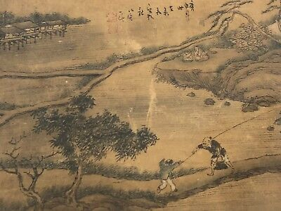 Old Antique Qing Dynasty Chinese Painting on Silk Signed