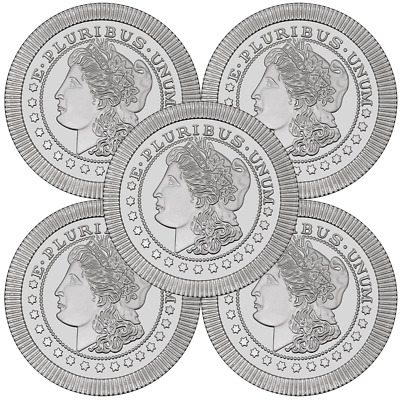 Lot of 5 - 1 Troy oz Morgan Design .999 Fine Silver Round