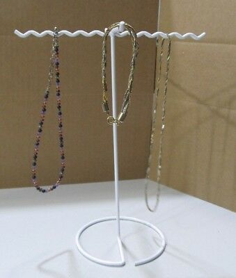 White Vinyl-Coated Metal Necklace & Chain Hanger Stand Display Storage w 4 Arms
