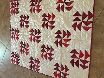 Flying Geese Red and White Quilt