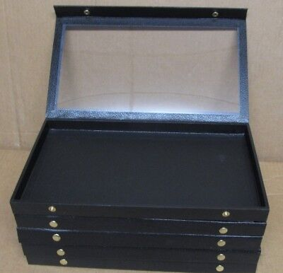 LOT of 5 Used Black Jewelry Display Case Trays 14-3/4 with Clear View Snap Lid