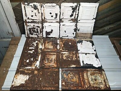 """10pc Lot of 23"""" by 11"""" Antique Ceiling Tin Vintage Reclaimed Salvage Art Craft"""