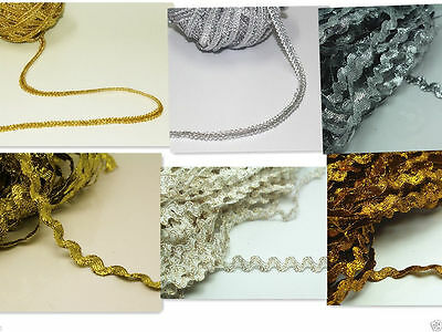 Sewing Trim Lace Art Dress Party Hats Edges Ribbon Clips Gold Silver Metallic