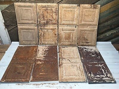 """8pc Lot of 23"""" by 11"""" Antique Ceiling Tin Vintage Reclaimed Salvage Art Craft"""