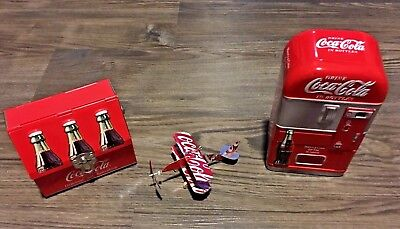 Coca-Cola Collectibles Tins, Airplane Made From Cans, Lunch Box & Refrigerator