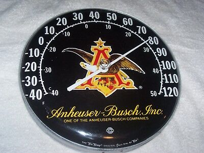 Vintage Anheuser-Busch, Inc. Advertising Thermometer By Tru-Temp Nice! L@@k!