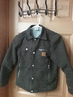 Boy's Carhartt Dark Brown Coat Jacket Size Small 8-10 Lined Zippered Snap Pocket