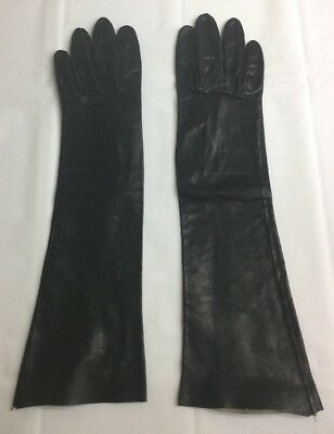 Vintage 1950s Sexy Long Black leather gloves unlined women's 7 aprox 3 3/8 X 14