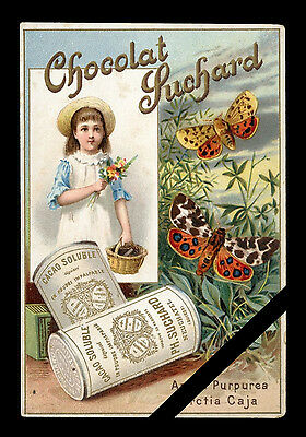 Vintage French Trade Card: Antique Early 1900's Chocolat Suchard - Butterflies