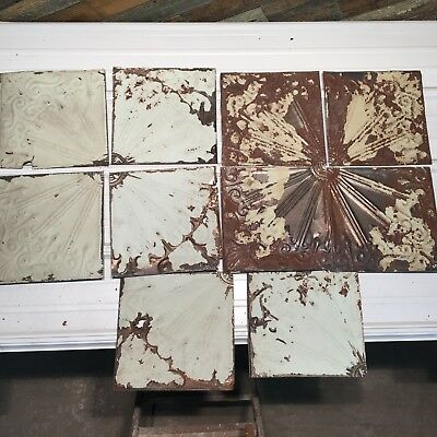 """10pc Lot 12"""" and under Antique Ceiling Tin Vintage Reclaimed Salvage Art Craft"""