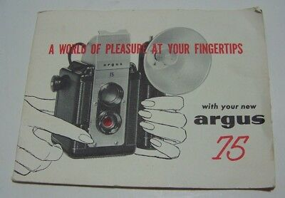 Vintage Argus 75 Camera Owners Manual, Operators Guide, FREE SHIPPING US ONLY!!