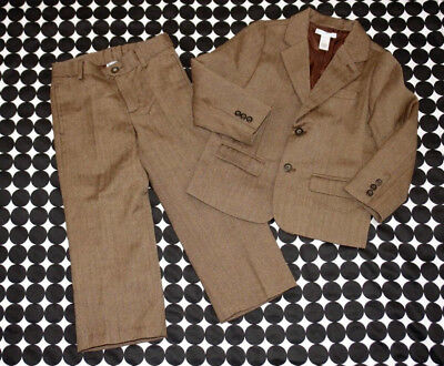 Boys Janie & Jack Brown Herringbone Wool Blend 2-Piece Suit: Jacket Pants 4T EUC