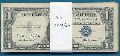 50 $1.00 1935/57 Mixed Average Circulated Blue Seal Silver Certificates