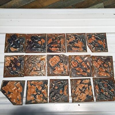 "15pc Lot of 6"" and under Antique Ceiling Tin Vintage Reclaimed Salvage Art Craft"