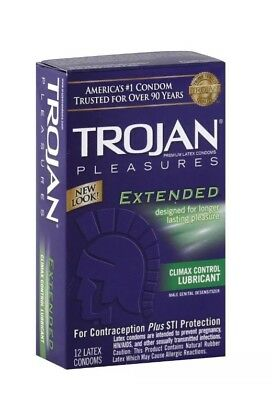 TROJAN Extended Pleasure Climax Control Lubricated Latex Condoms 12 Each