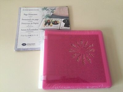 CREATIVE MEMORIES BLOOMING PINK 7 X 7 ALBUM  BNIP + WHITE PAGES Page Protectors