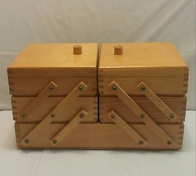 Vintage Wooden Dovetail Accordion Fold Out Sewing / Trinket /Jewelry Box