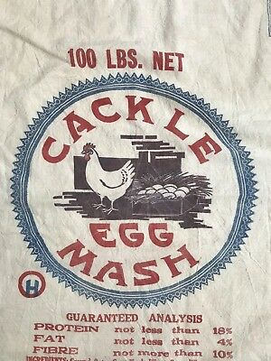 Antique Farm Chicken Cackle Mash Advertising Seed Feed Bag Sack