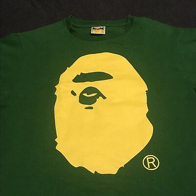 759424fc Pre-owned Bape A Bathing Ape Big Face Logo T Shirt Green With Yellow Face