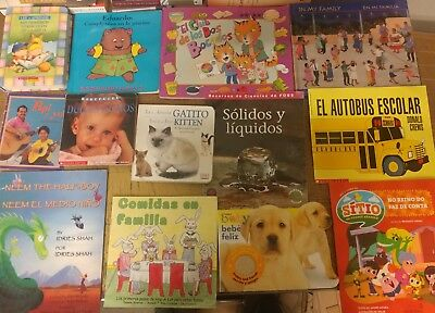 Lot of 30 Spanish Espanol Learn to Read Children Kids Picture ESL Book MIX #G22