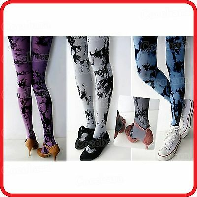 Tie Dye Opaque Footed Sexy Tights Pants Stockings--Blue,grey,purple