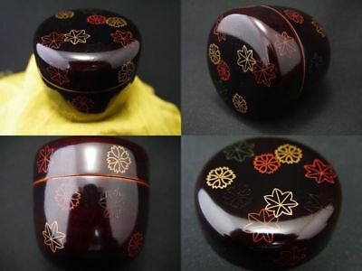 Japanese Traditional Lacquer Wooden Tea Caddy UNKIN makie Chu-Natsume (0122)