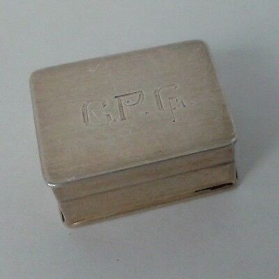 Antique Sterling Silver Volupte Usa Pill Box, Snuff Trinket Initials, Hinged