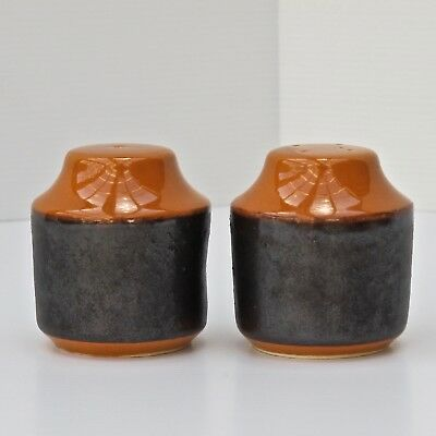 Hanstan Pottery Orange & Brown Salt & Pepper Shakers with Cork Plugs c.1970s