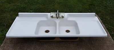 Antique Original Porcelain 6FT Cast Iron Vintage Classic Farmhouse Kitchen Sink