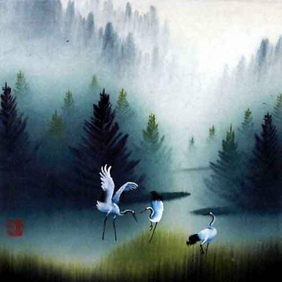 Oriental Chinese Brush Painting Ink Art-Cranes Playing in Spring Forest 13x13""