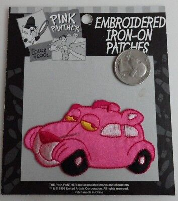 The Pink Panther VW Bug Classic Cartoon Embroidered Iron On Patch New - Rare