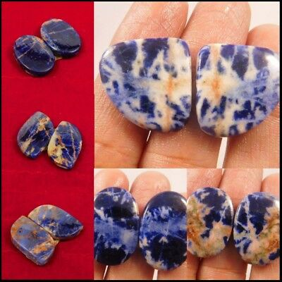 100% Natural Sodalite Pair Loose Cabochon Gemstone ND293-309 Free Shipping