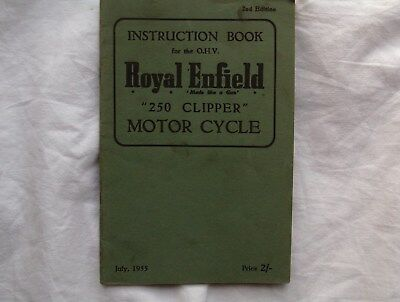 Royal Enfield 250 Clipper , Instruction Book For The O.h.v. 1955