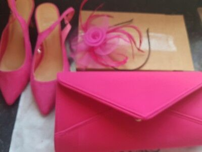 Pink bag shoes size 6 and fasinator