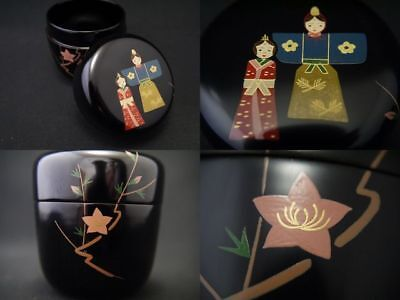 Japanese Traditional Lacquer Wooden Tea caddy Japanese dolls makie Natsume (202)