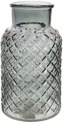 Large Charcoal Glass Flower Vase Wide Mouth Flower Vase Lattice Design