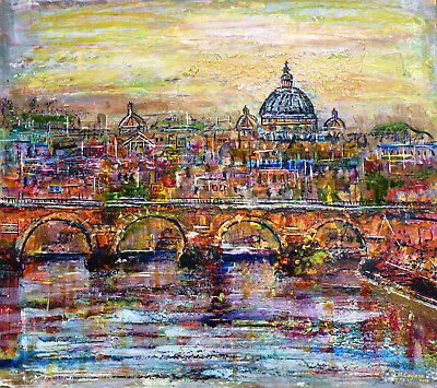 Modern mixed media original semi-abstract painting - St. Peter's Basilica. Rome.
