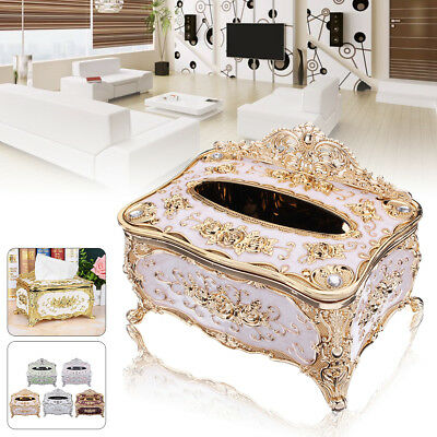 Luxury European Elegant Tissue Box Cover Chic Napkin Case Holder Decor Organizer