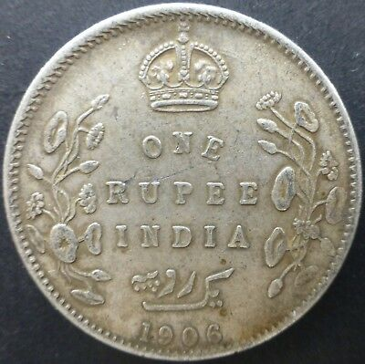 British India 1906 One Rupee Silver coin