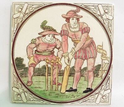 "19Thc Victorian ""malkin Edge & Co"" Sporting Tile ""tudor Cricket"", Gaming Series"