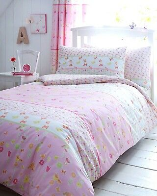 Girls Pink Floral Butterfly 100% Cotton Duvet Set - Matching Curtains Available