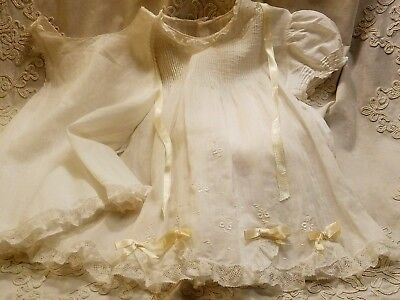 Vintage/Antique Lot 4- Doll/ Baby Clothes- 1 Gown- 3 Dresses-Slip- X Condition