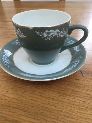 VINTAGE LORD NELSON POTTERY ENGLAND - CUP & SAUCER - LEAF DESIGN - 1960's