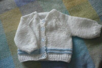 NEW Hand knitted  Baby Boy Cardigan  - White Blue  0-3 months. Soft