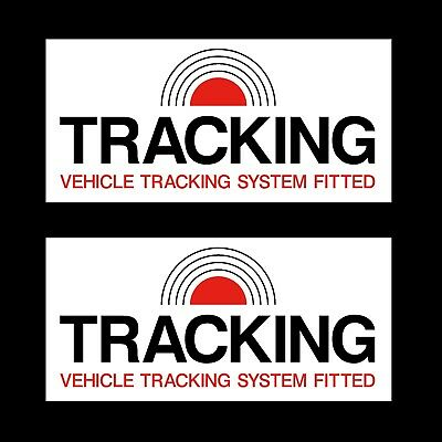 2x Vehicle Tracker System 75x25mm Stickers - Security, Theft, Car, Dashboard