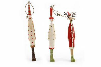 Retro Novelty Slim Wooden Father Christmas Reindeer Snowman Tree Decoration Gift