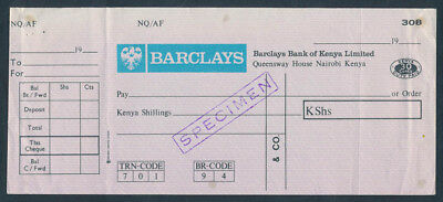 Kenya: 1970s Barclays Bank of Kenya. RARE SPECIMEN Cheque with Duty Stamp